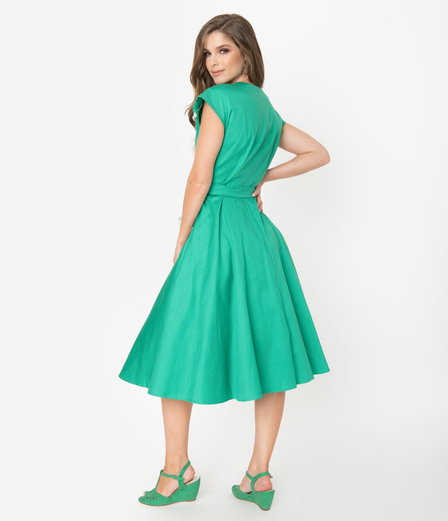 Unique Vintage 1950s Style Green & Ivory Hedda Swing Dress