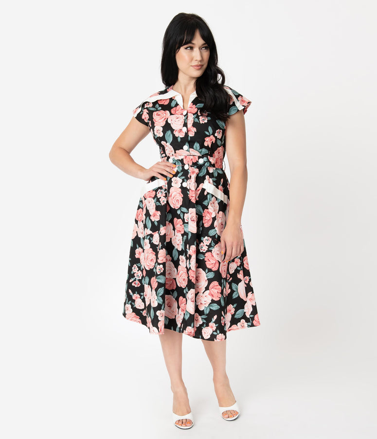 Unique Vintage 1950s Black & Pink Floral Cap Sleeve Hedda Swing Dress