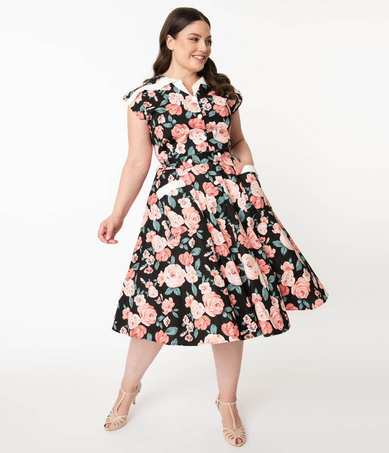 Unique Vintage Plus Size 1950s Black & Pink Floral Cap Sleeve Hedda Swing Dress