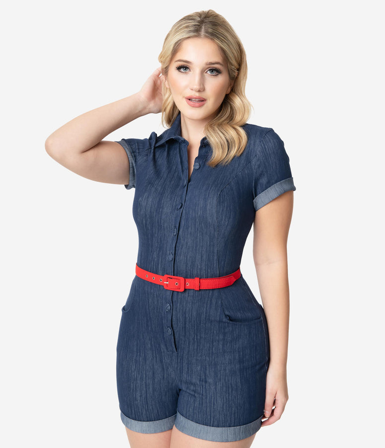 Unique Vintage Faded Blue Denim Patsy Romper