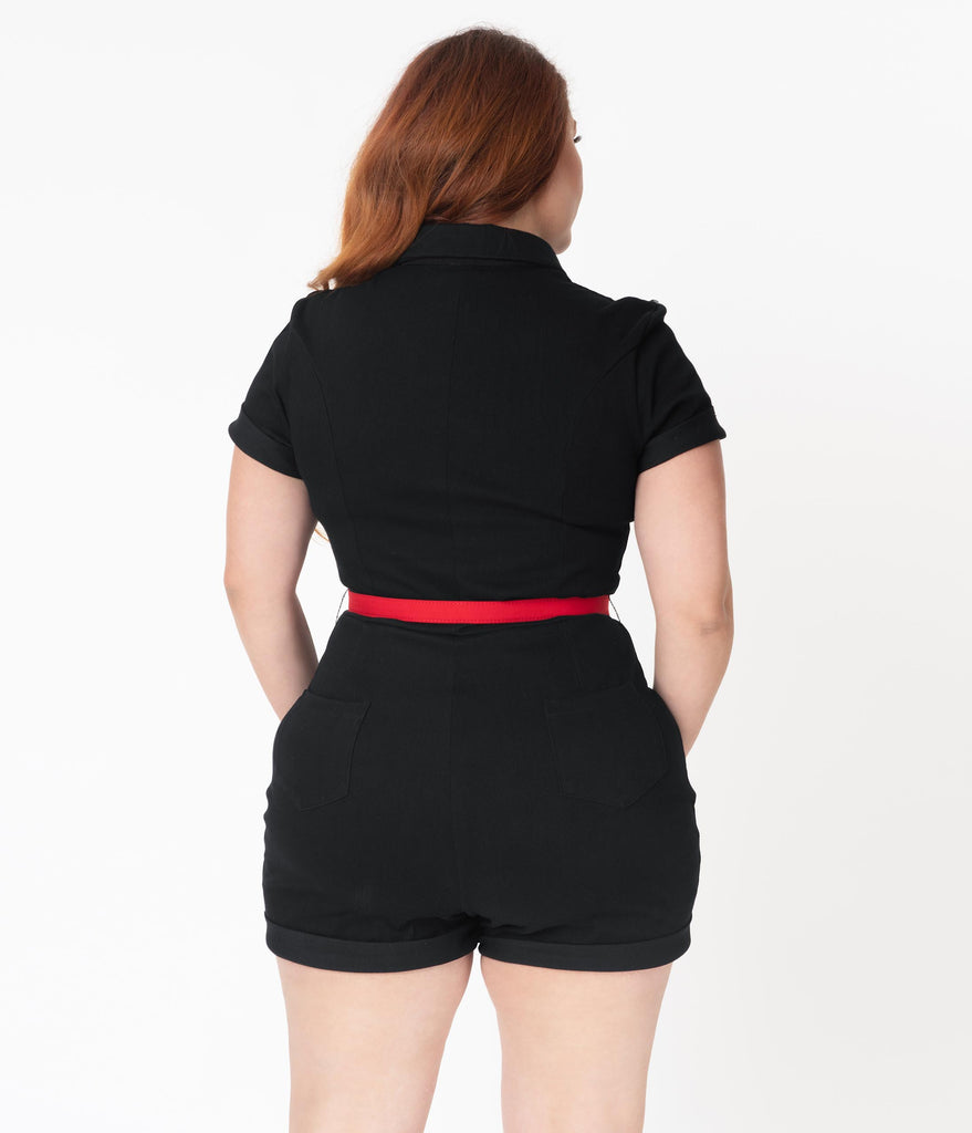Unique Vintage Plus Size Black Dixie Romper