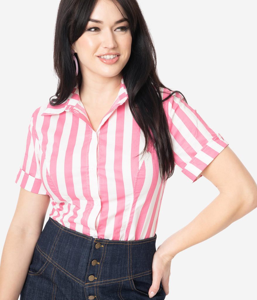 Unique Vintage Pink & White Stripe Mazzie Blouse