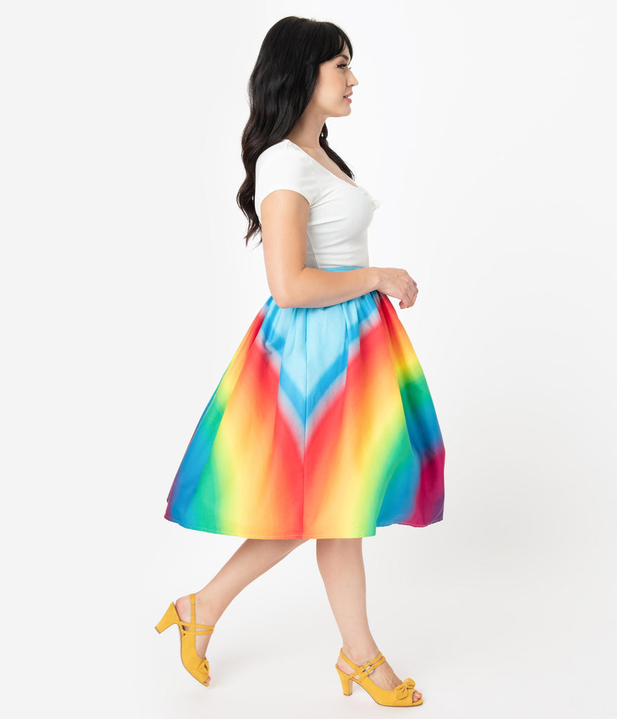 Unique Vintage 1950s Style Rainbow Print High Waist Swing Skirt