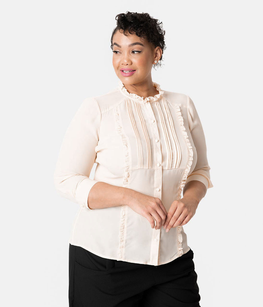 Unique Vintage Plus Size 1940s Style Cream Chiffon Ruffle Audra Blouse