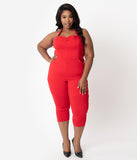 Unique Vintage Plus Size 1950s Style Red Halter Marcel Cropped Jumpsuit