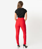Unique Vintage Red Stretch High Waist Rizzo Cigarette Pants