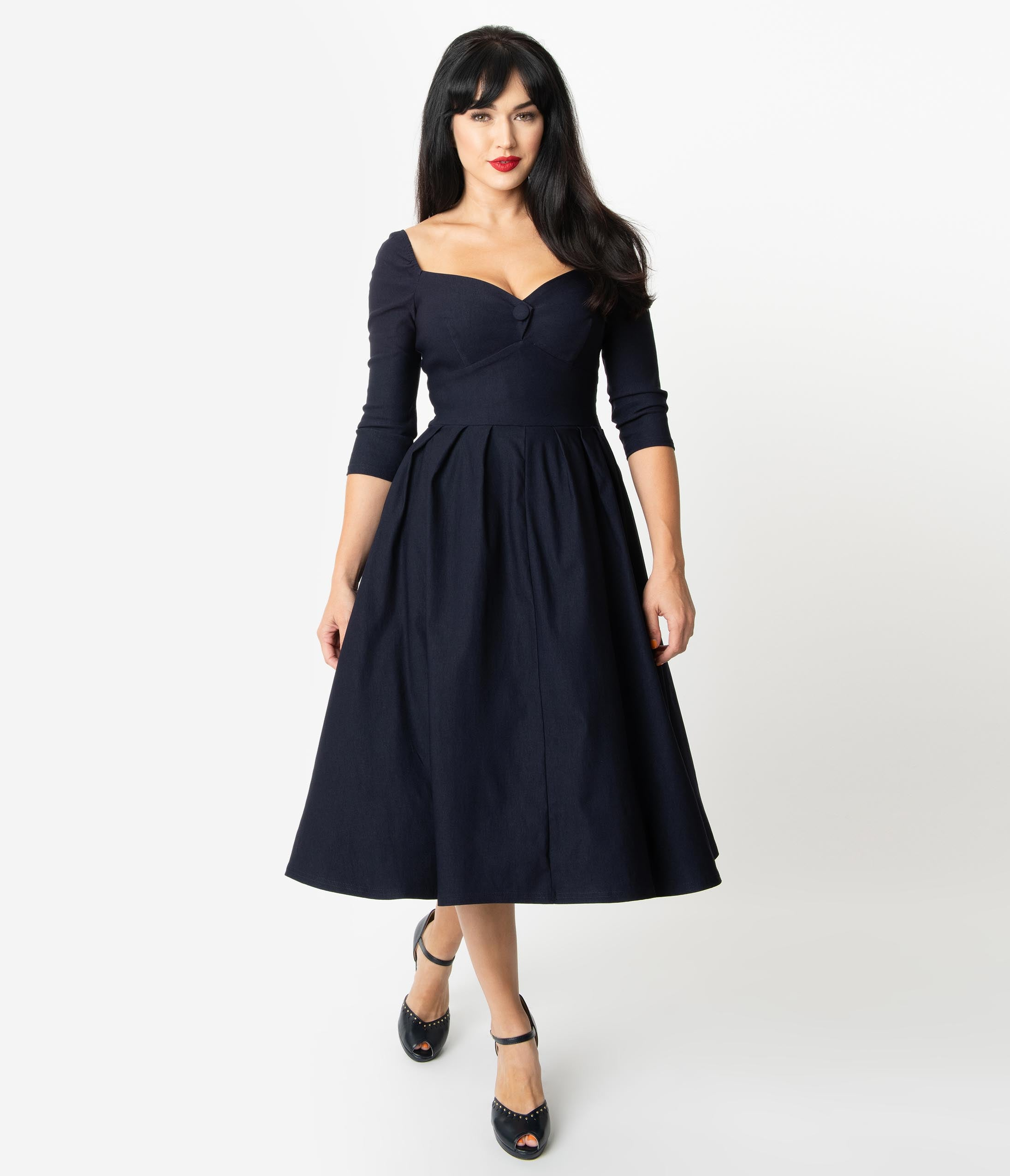 500 Vintage Style Dresses for Sale | Vintage Inspired Dresses Unique Vintage 1950S Style Navy Sweetheart Lamar Swing Dress $98.00 AT vintagedancer.com