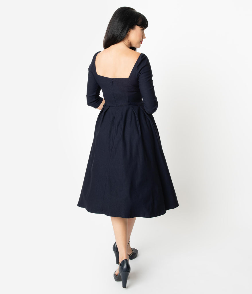 Unique Vintage 1950s Style Navy Sweetheart Lamar Swing Dress