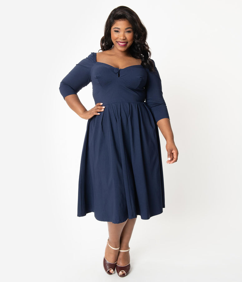 Unique Vintage Plus Size 1950s Style Navy Sweetheart Lamar Swing Dress