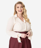 Unique Vintage Plus Size 1950s Style Cream Long Sleeve Izzy Blouse
