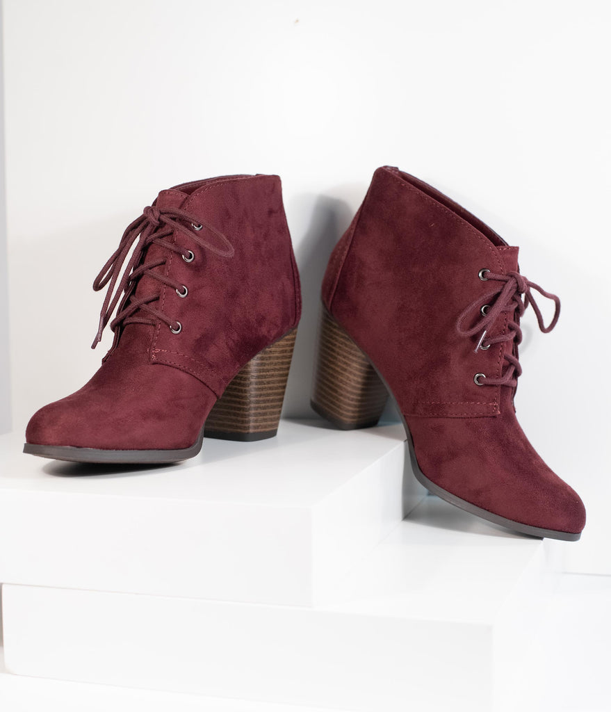 Vino Purple Suede Lace Up Bootie