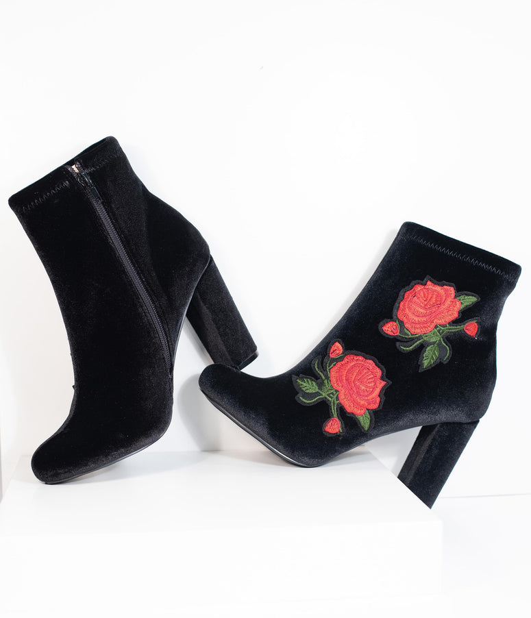 Vintage Style Black Velvet & Red Rose Embroidered Bootie