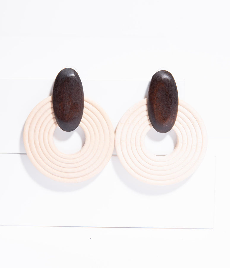 Ivory & Brown Wooden Circle Drop Earrings