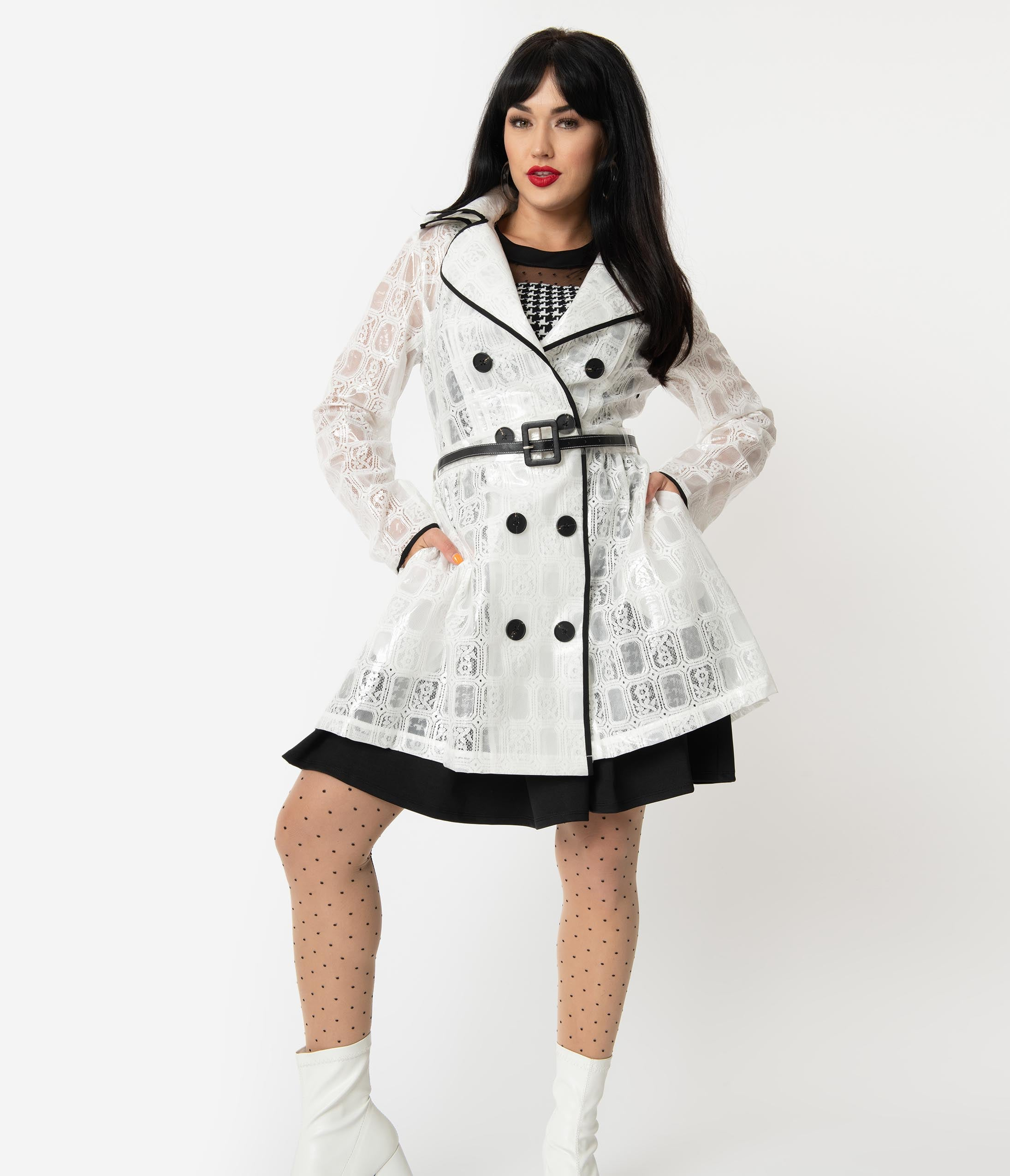 1960s Coats and Jackets Retro Style White Lace  Vinyl Double-Breasted Short Raincoat $154.00 AT vintagedancer.com