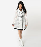 Retro Style White Lace & Vinyl Double-Breasted Short Raincoat