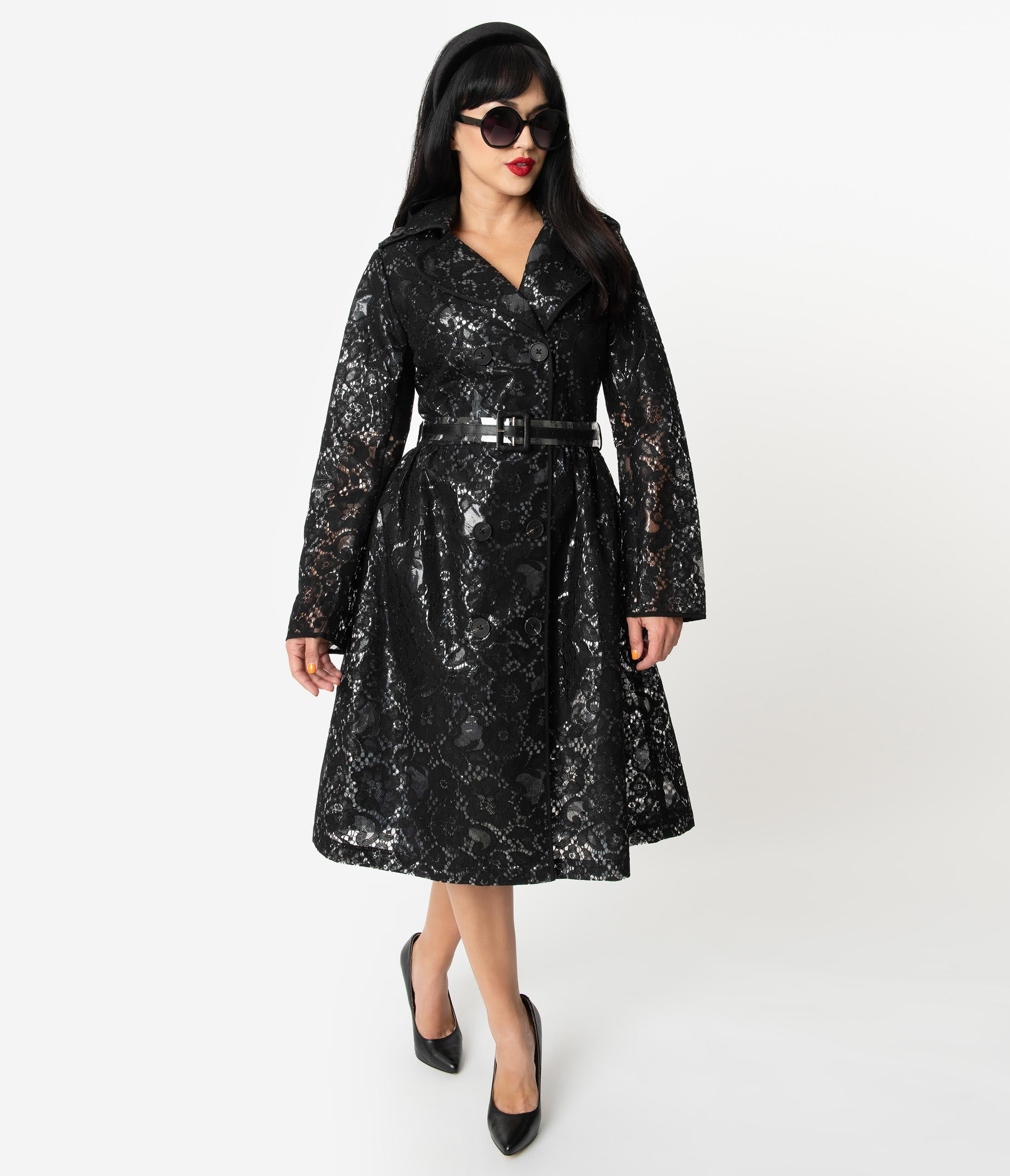 1960s Coats and Jackets Retro Style Black Lace  Vinyl Double-Breasted Long Raincoat $165.00 AT vintagedancer.com