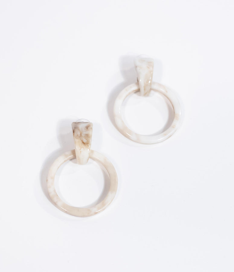 Retro Style Ivory & Cream Marble Circle Drop Earring