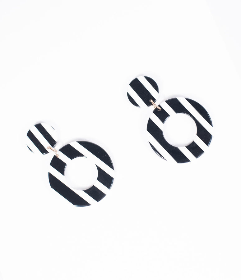 Black & White Stripe Circle Drop Earrings