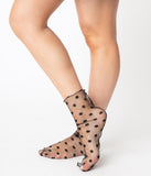 Black Mesh Swiss Dot Sheer Socks