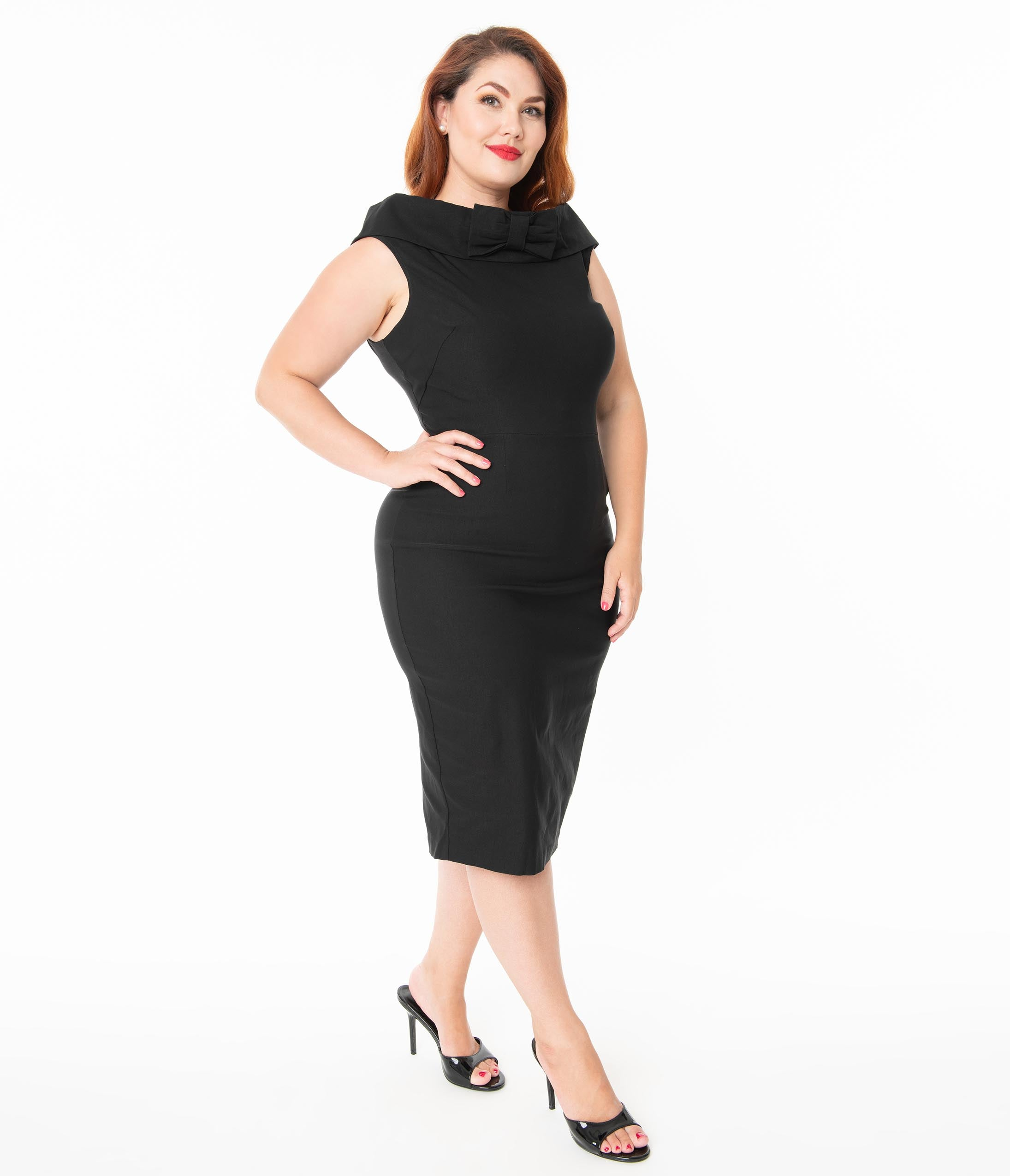 60s 70s Plus Size Dresses, Clothing, Costumes Barbie X Unique Vintage Plus Size 1960S Style Black Sheath Dress $98.00 AT vintagedancer.com
