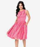 Unique Vintage Watermelon Pink & White Polka Dots Doheny Swing Dress