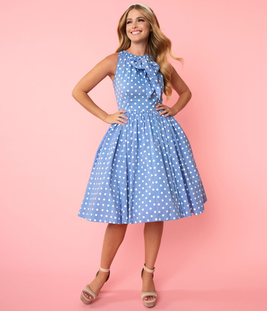 Unique Vintage Periwinkle Blue & White Polka Dots Doheny Swing Dress