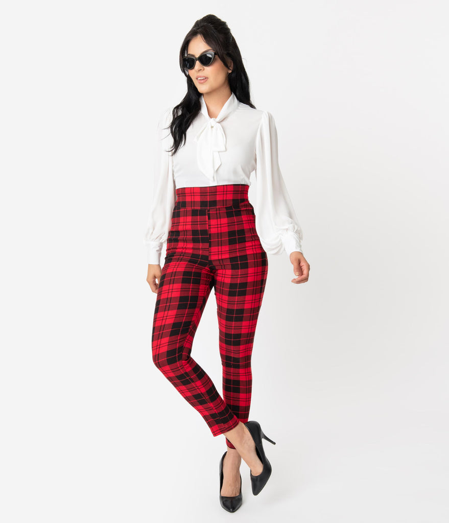 Unique Vintage Red & Black Plaid Stretch High Waist Rizzo Cigarette Pants