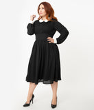 Unique Vintage Plus Size 1940s Style Black & White Deirdre Shirt Dress