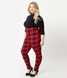 Unique Vintage Plus Size Red & Black Plaid Stretch High Waist Rizzo Cigarette Pants