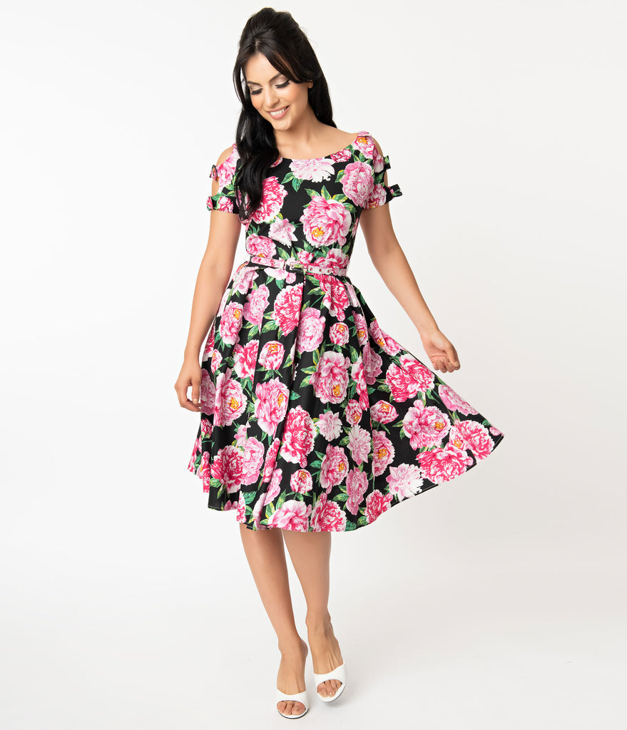 Unique Vintage 1950s Black & Pink Floral Bow Sleeve Selma Swing Dress