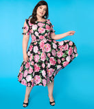 Unique Vintage Plus Size 1950s Black & Pink Floral Bow Sleeve Selma Swing Dress