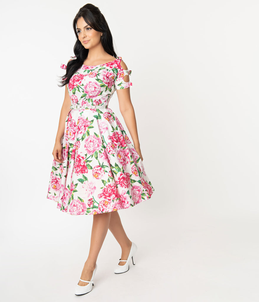 Unique Vintage 1950s White & Pink Floral Selma Swing Dress