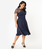 Unique Vintage Plus Size 1940s Navy Blue Swiss Dotted Heather Midi Dress