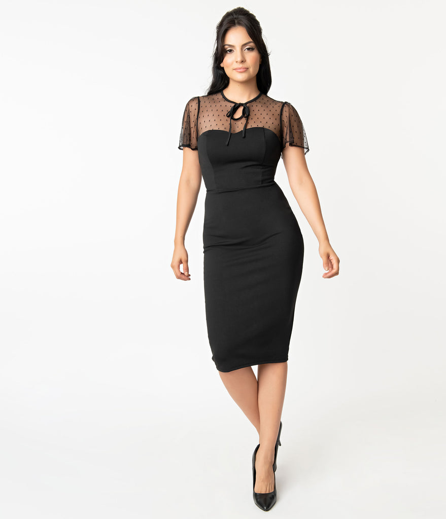 Unique Vintage Black Swiss Dotted Mesh Norma-Jean Wiggle Dress