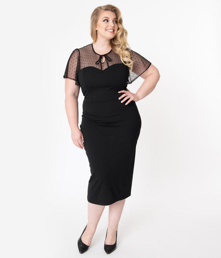 Unique Vintage Plus Size Black Swiss Dotted Mesh Norma-Jean Wiggle Dress