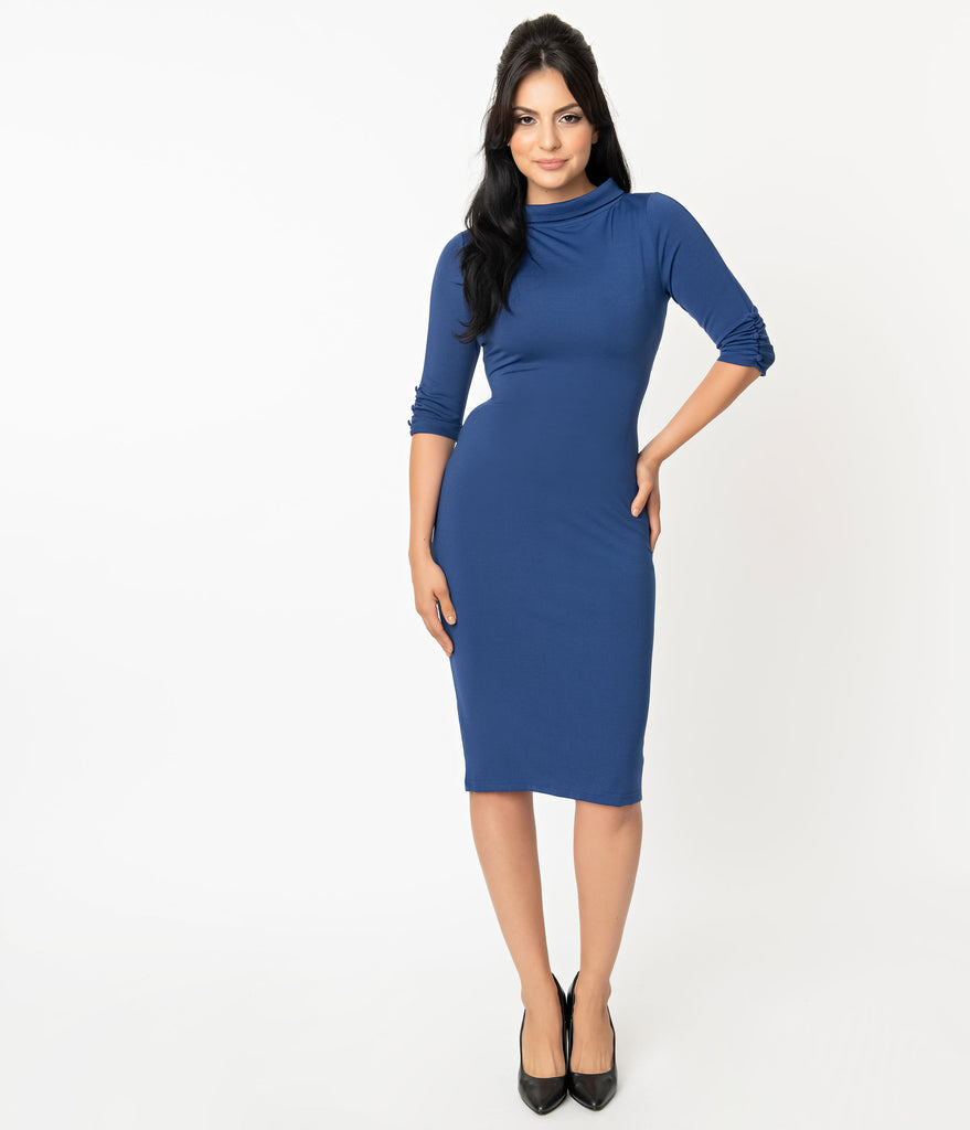 Unique Vintage 1960s Retro Blue Half Sleeve Cassidy Wiggle Dress