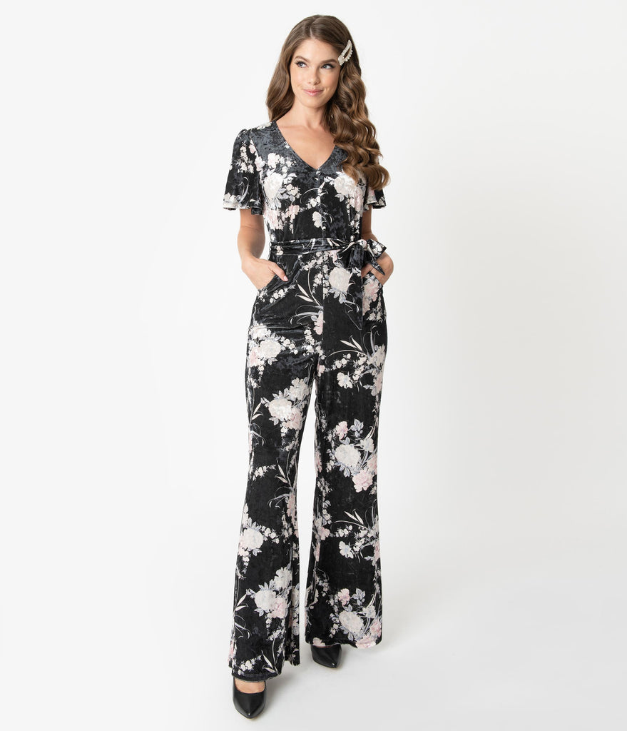 Unique Vintage 1970s Black & Ivory Floral Velvet Heddy Jumpsuit