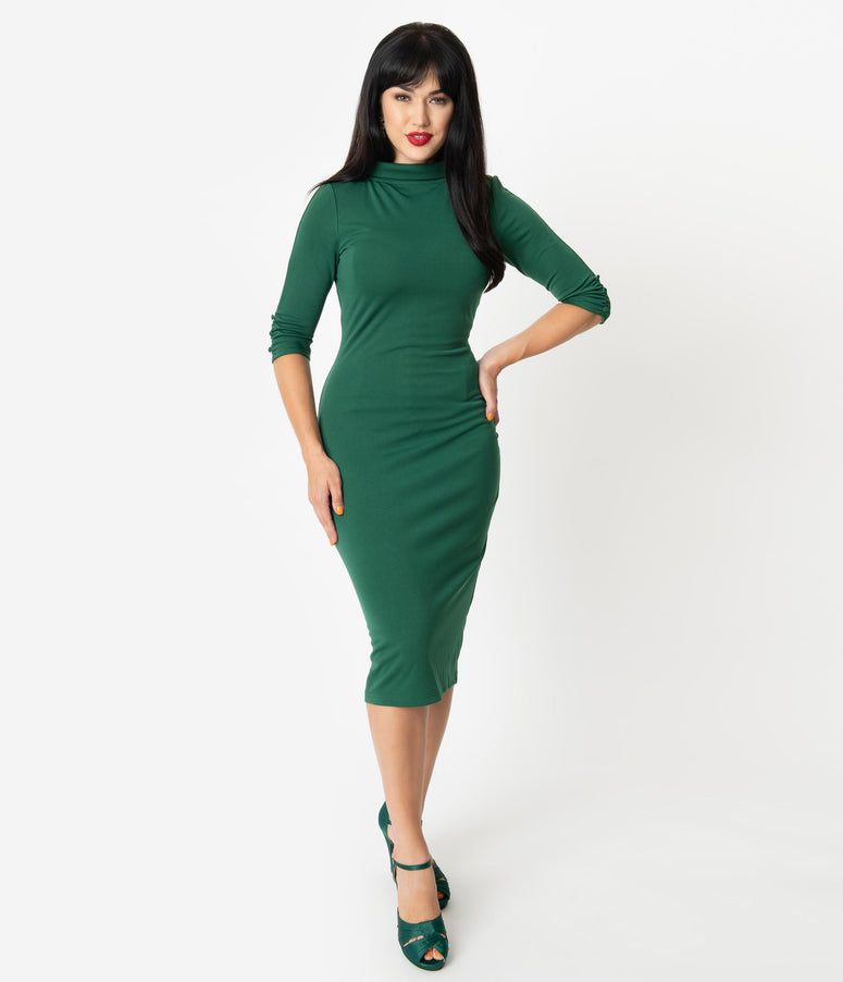 Unique Vintage 1960s Retro Green Half Sleeve Cassidy Wiggle Dress