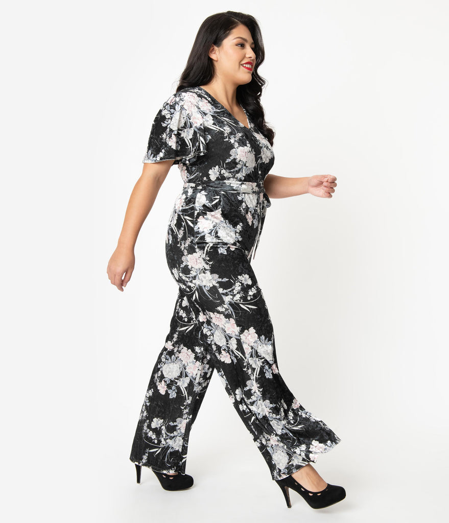 Unique Vintage Plus Size 1970s Black & Ivory Floral Velvet Heddy Jumpsuit