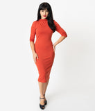 Unique Vintage 1960s Retro Paprika Half Sleeve Cassidy Wiggle Dress