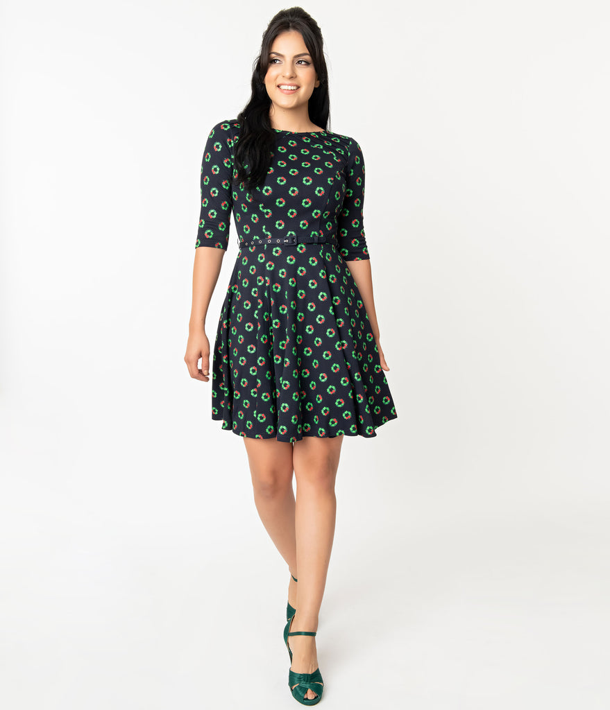 Unique Vintage Navy Holiday Wreath Print Stephanie Fit & Flare Dress