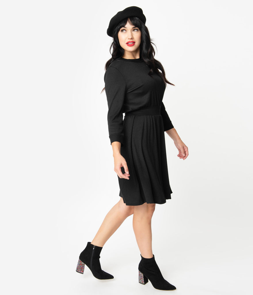 Unique Vintage 1960s Style Black Abigail Fit & Flare Dress