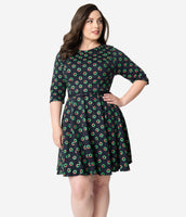 Plus Size Fit-and-Flare General Print 3/4 Sleeves Elasticized Princess Seams Waistline Vintage Belted Fitted Dress With a Bow(s)