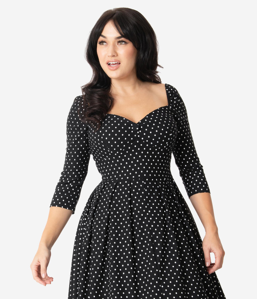 Unique Vintage 1950s Black & White Pin Dot Sweetheart Lamar Swing Dress