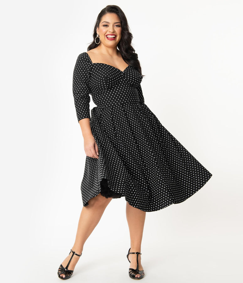 Unique Vintage Plus Size 1950s Black & White Pin Dot Sweetheart Lamar Swing Dress