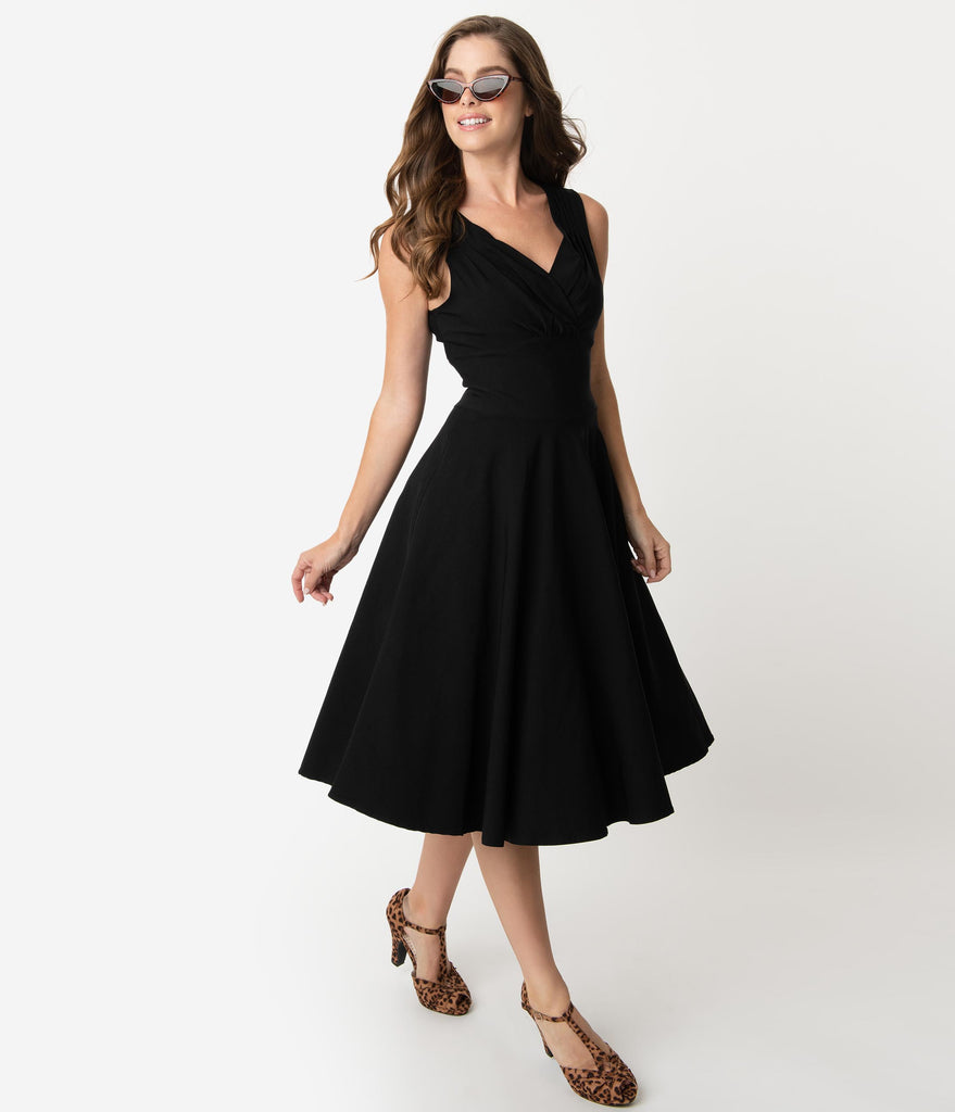 Unique Vintage 1950s Black Sleeveless Delores Swing Dress