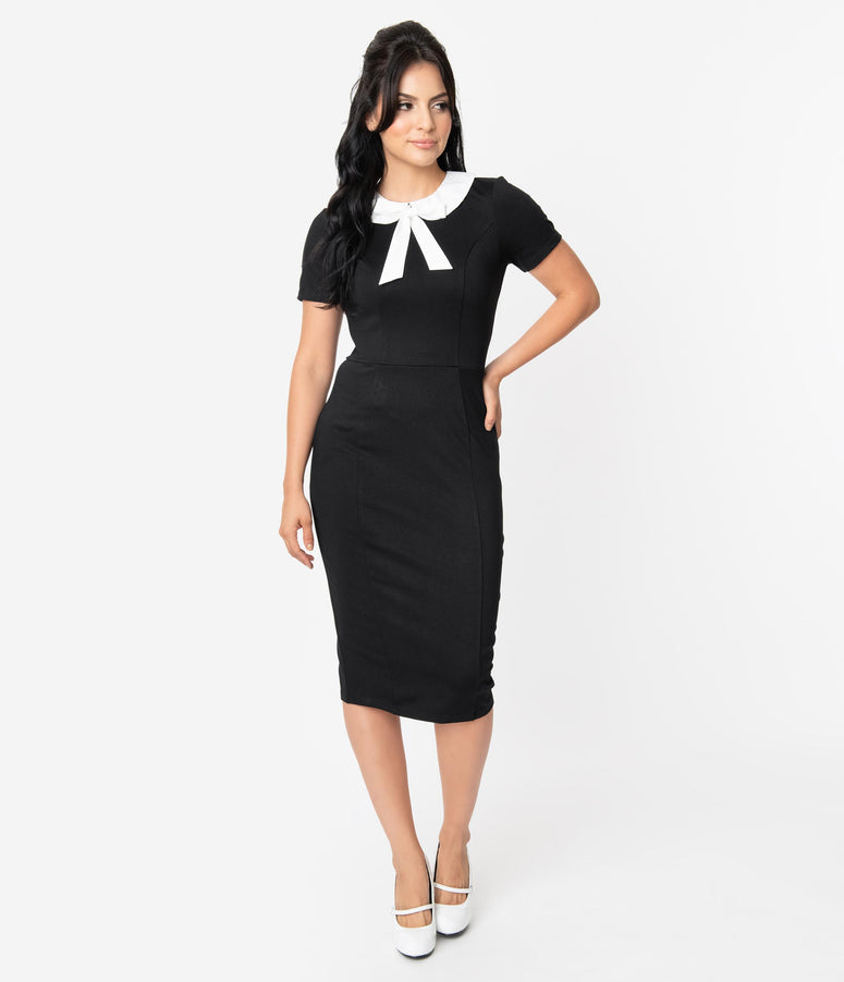 Unique Vintage 1960s Style Black & White Collar Renata Pencil Dress