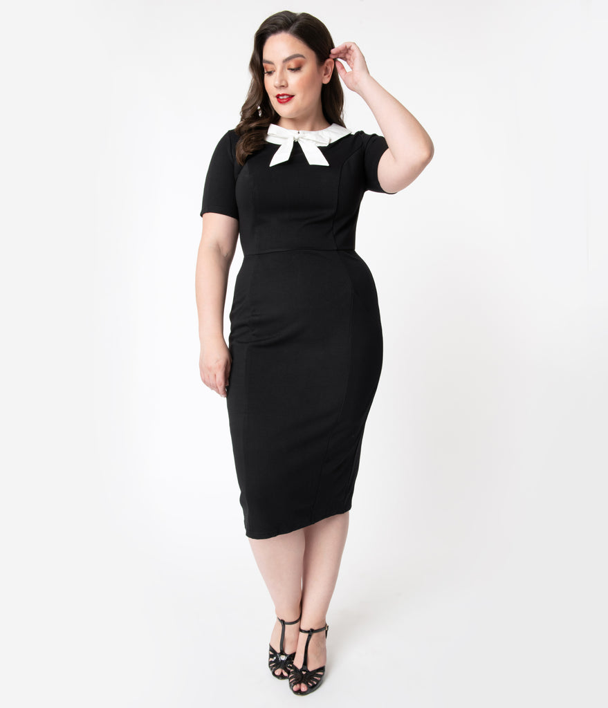 Unique Vintage Plus Size 1960s Black & White Collar Renata Pencil Dress