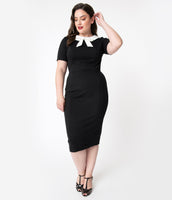 Plus Size Modest Knit Short Sleeves Sleeves Back Zipper Back Vent Fitted Collared Pencil-Skirt Dress With a Bow(s)
