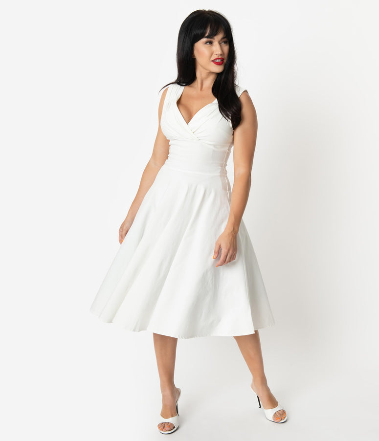 Unique Vintage 1950s Style Ivory Sleeveless Delores Swing Dress